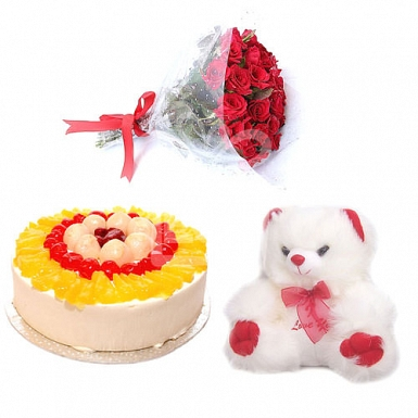 2LB Cake with Red Roses and Teddy Bear