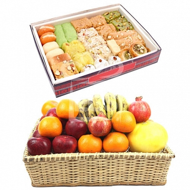 Fresh Seasonal Fruits with 2KG Mix Mithai
