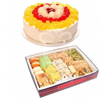 2KG Mithai with 2LB Luxury Cake