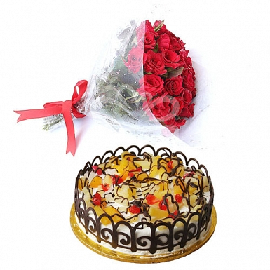 Flowers with 2Lbs Cake - Tehzeeb Bakers