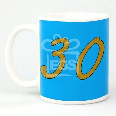 Blue Birthday Age Mug - Personalsied Mugs