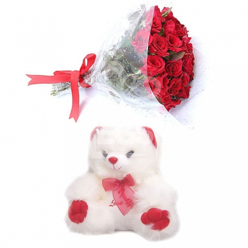 Bunch Of Red Roses and Teddy Bear