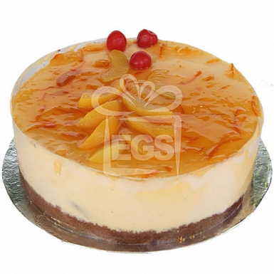 2lbs Peach Orange Mouse Cake From Kitchen Cuisine delivery to Pakistan