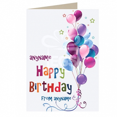 Happy Birthday Balloons - Personalised Cards