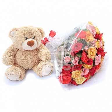 Mix Rose Bouquet with Teddy