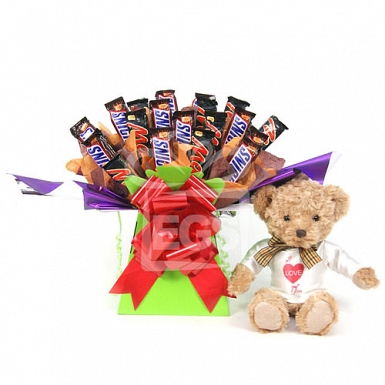 Snickers and Mars Bouquet With Bear Gift