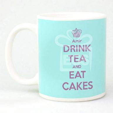 Keep Calm Drink Tea Eat Cake Mug - Personalised Mugs