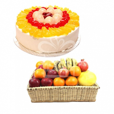 Fresh Seasonal Fruits with 2LB Luxury Cake