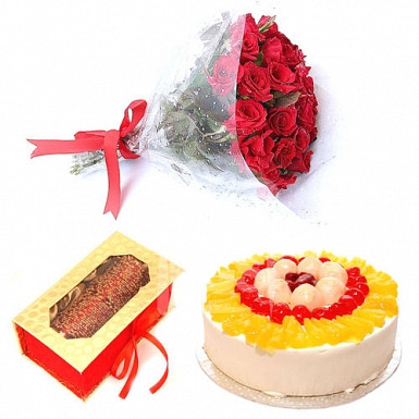 Bunch Of Red Roses with Cake and Bangles