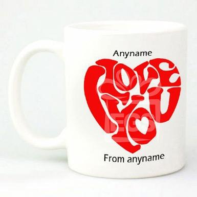 I Love You Heart-Personalised Mug