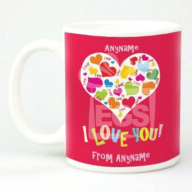 I Love You-Hearts-Personalised mug