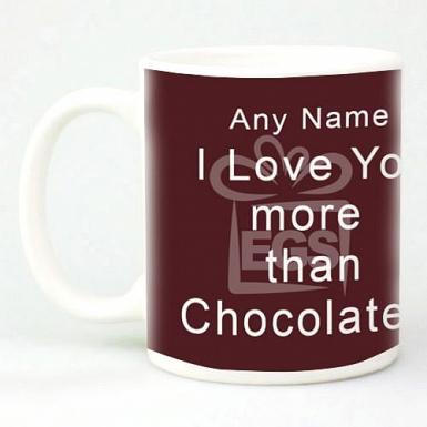 I love You More than Chocolate Mug - Personalised Mugs