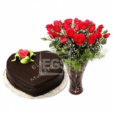2lbs Eid Day Cake from Pearl Continental Hotel with Red Roses delivery to Pakistan