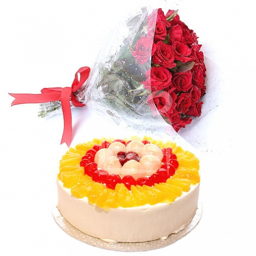 2 Lb Cake with Bunch of flowers