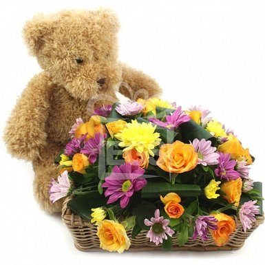 Dewy Roses and Bear Gift Basket