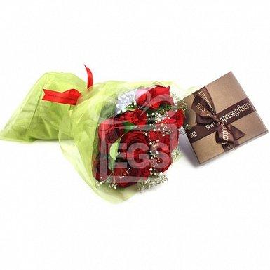 Dozen Red Roses and Chocolates