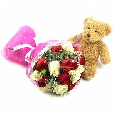 Velvety Roses with Bear Gift
