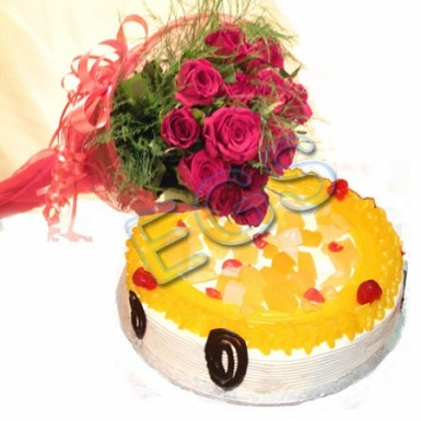 Delicious Cake From Holiday Inn Hotel With Red Roses delivery to Pakistan
