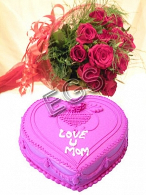Heart Shape Mothers Day Cake From Marriott Hotel with Red Roses delivery to Pakistan