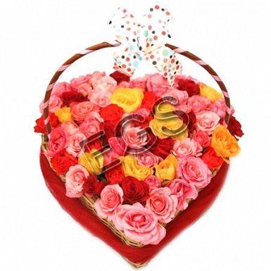 Mix Roses Heart Basket